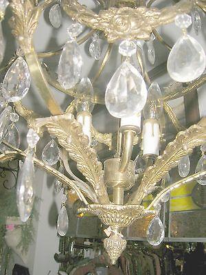 Reduced!! Fabulous Embossed Brass&Crystal  Chandelier Nashville Architect. Salv. 7