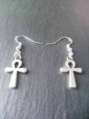 Egyptian Ankh Earrings 925 Sterling Silver Hooks Good Luck Charm Key of Life 2
