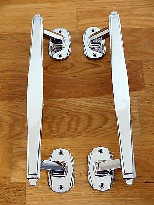 3 Pairs Of Chrome Art Deco Door Pull Handles Knobs Plates Finger Push 2