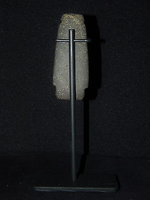 Pre-Columbian Axe God Pendant with Crouching Knees on Custom Stand, Authentic 11