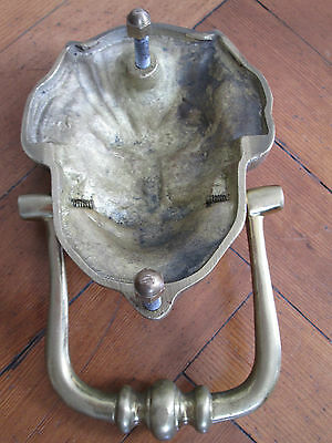 Large Old Solid Brass Lion Face Door Knocker 4