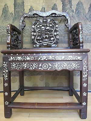 Beautiful 18-19th Century Qing Dyn. Chinese Rosewood Mother of Pearl Inlay Chair 7