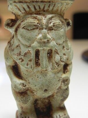 Zurqieh - As10010- Ancient Egyptian Large Faience Bes Figure. 600 - 300 B.c 7