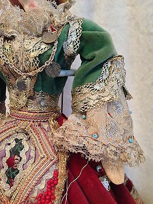 "Antique European Mediterranean Greek Doll - Silk Cloth Face - 14.5"" Tall 5"