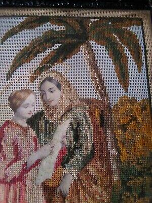 Antico Quadro 32,5x26 MEZZO PUNTO cornice in legno vintage motivo religioso 5