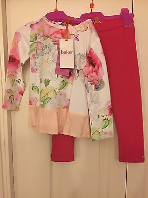 Ted Baker Girls Floral tunic and leggings set with sizes. BNWT. Designer 4