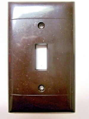Sierra Switch Plate Wall Cover Brown Bakelite 2 Ribbed Lines Smooth P-1 Vintage 2