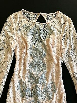 NWT Bebe coral pink blush lace floral open back long sleeve top dress M Medium 6 5
