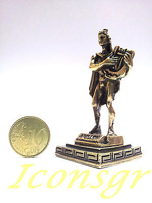 Ancient Statue Apollo Greek Miniature Olympian God Pantheon Sculpture Zamac Gold 2