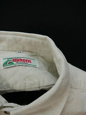 Gr.XL Trachtenhemd Hemd Alphorn beige Leinen Edelweiß Stickerei TH1079 3