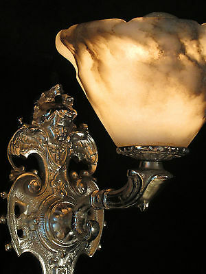 wall lights pair silver plate SOLID BRONZE & REAL ALABASTER INDUSTRIAL LIGHTS 5