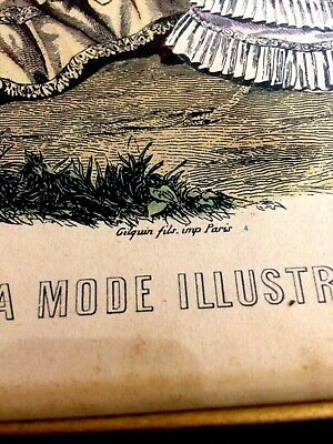 Vintage Victorian Print La Mode Illustree Paris  French Ladies Womens Fashion 10