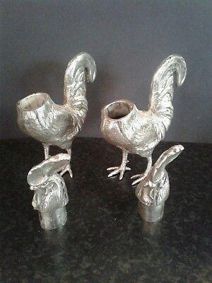 Pair Antique Novelty Silver Bird Pepper Shaker Bernard Muller Dated 4