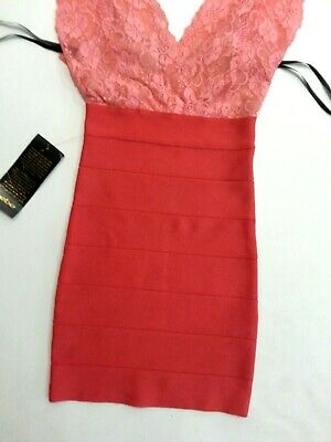 NWT bebe pink coral deep v neck lace bandage sexy top dress XS cocktail 0 2 4