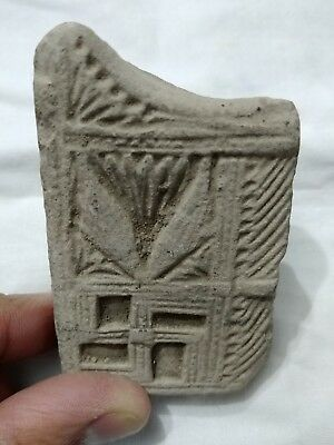 RARE Ancient Indian Clay Tablet Decorated with Swastika and Ornate Patterns!! 4