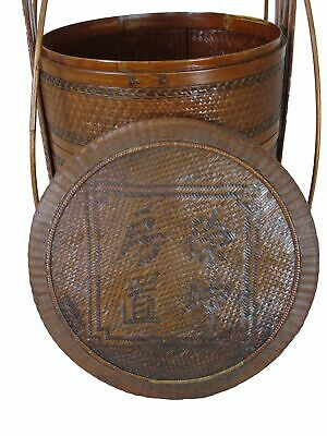 Chinese Antique Bamboo Food Box w Basket 6