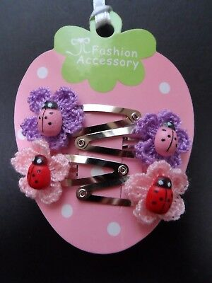girls/baby hair clips, snap clips, slides mini/small hair clips flower ladybirds 2