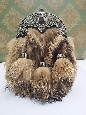 Men's Kilt Sporran Fox Fur Celtic Thistle Cantle Antique/Scottish Kilt Spoorans 2
