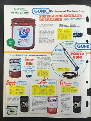 """Vintage 1978 GUNK """"Cleaning Problems End..With GUNK Solutions"""" Jobbers Catalog 9"""
