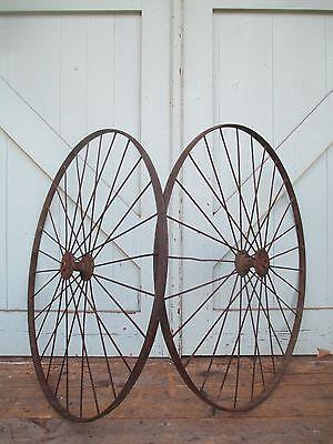 """Antique 28"""" pair IRON WHEELS industrial - steampunk SALVAGED modern design PARTS 12"""
