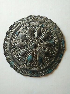 Ancient Byzantine bronze gilded ornament/adornment handmade carved details 4