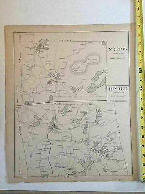 Original 1892 New Hampshire Map 15x17 Nelson, Rind be 2
