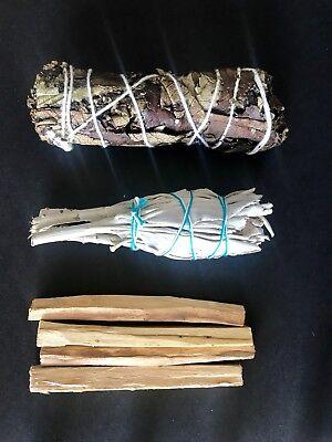 California White Sage,Palo Santo 4 sticks ,Yerba Santa Smudge 3 Pack Bundl 5