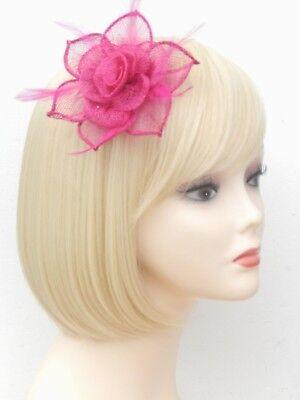 Fuchsia Pink Fascinator Brooch Clip Hair Feather Flower Wedding Ladies Day Races 6