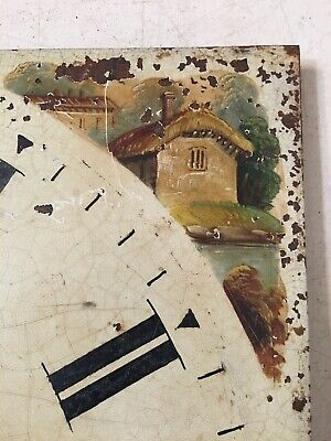 Antique Grandfather Clock Dial Hand Painted Cabin Decoration 1800's 2