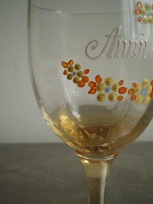"""Vaso Esmalte Antiguo Cumpleaños"""" Deco Souvenir Vintage Glass Arte Mesa 5"""