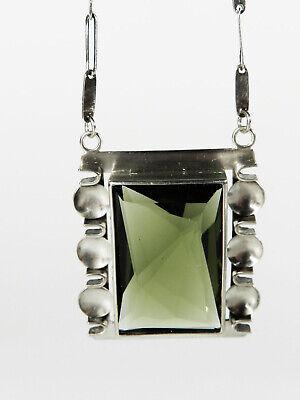Pforzheim Art Deco Silver Smoky Topaz Necklace° 30s Unicum° Bauhaus Tradition 2