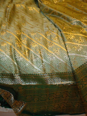 Bn Ladies Green & Gold Banarsee Saree With Heavy Border With Blouse Piece 10