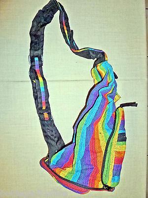 Zainetto In Cotone Grosso Colori Rainbow Spalline Regolabili,richiudibile 2