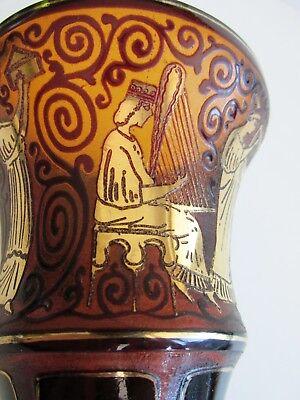 Czech/Bohemian ACID ETCHED Amber Glass VASE ART DECO Oroplastic 1920 Ruby Panels 6