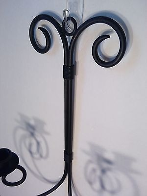 Decorative Wrought Iron Black Dual Candleholder Hanging Wall Sconce Set of Two 3