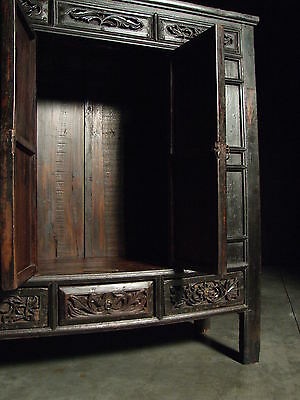 Beautiful Chinese Black Walnut Warrior Cabinet Antique 4
