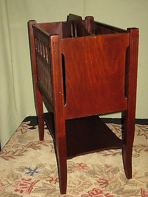 Antique Mahogany Floor Magazine/paper Holder Stand Orig. Finish Cut Outs Shelf