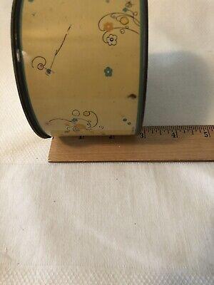 Vintage Cara Nome Powder Jar Container Metal Tin Light Yellow Round Cosmetic 8