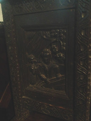 small antique carved gothic oak victorian free standing cabinet elizabethan lady 3