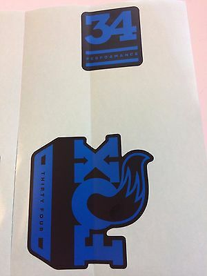 FOX Factory Series Fork 34 Blue Left /& Right Decals Set 34mm Stickers