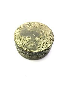 Rare Antique Authentic Alpaca Silver Round Box with Cover Near Eastern Vintage 2