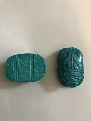 2x_Egyptian Pharaoh Scarab Paperweight Sculpture, Hand Carved ceramic, (4x3) Cm 5