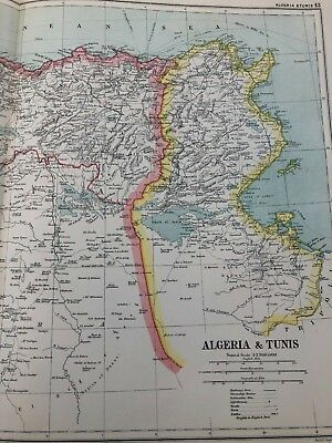 1899 double page map from g.w. bacon - algeria & tunis