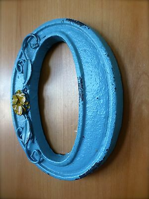 """BLUE CAST IRON WALL LETTER """"O"""" 6.5"""" TALL rustic vintage decor sign child nursery 4"""