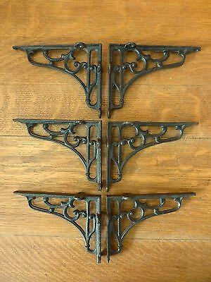 "6 MEDIUM BROWN ANTIQUE STYLE 6.5"" SHELF BRACKETS CAST IRON rustic garden SCROLL 2"