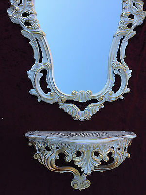 Wall Mirror Baroque White Gold with Console Table Antique Tray Shelf in the Set 3