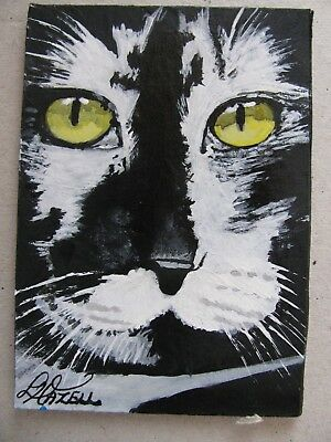 """A834        Original Acrylic Aceo Painting By Ljh  """"Frankie""""  Cat  Kitten 5"""