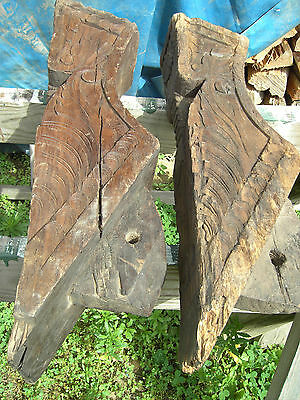Pr B Pacific Island Hand Carved Corbels Antique shrine Home Architectural Salvag 9