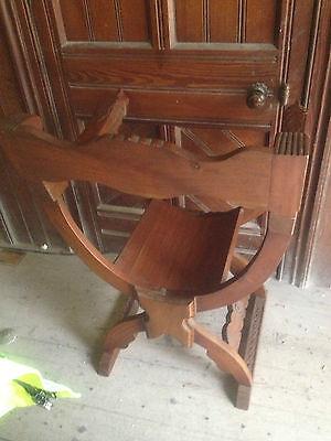 Pair Savonarola Medieval Gothic Dragon Mahogany x Frame Throne Chairs scissors 11