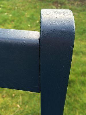 Painted Vintage Oak Carver with 100% Wool Tartan Seat - navy 6